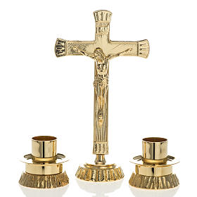 Altar crosses and candle holders: Altar set in brass