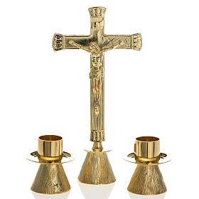 Altar crosses and candle holders: Altar cross and candle holders in brass