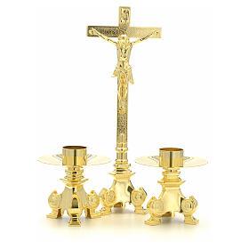 Cruz y candelabros para altar de latón s4