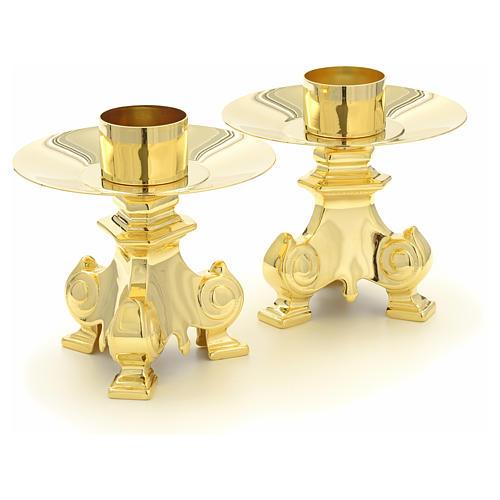 Cruz y candelabros para altar de latón 6