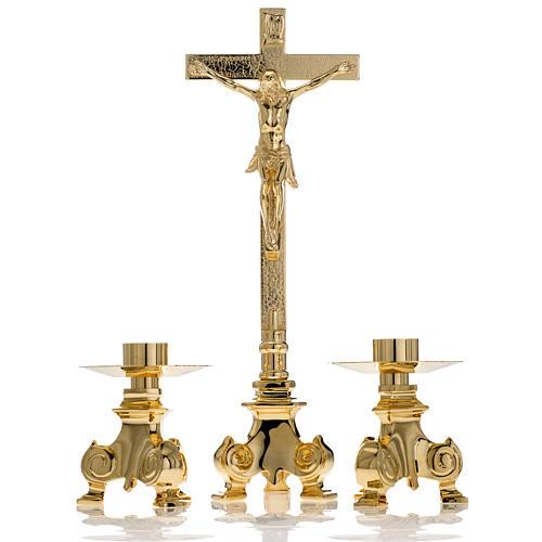Cruz y candelabros para altar 3pz 1