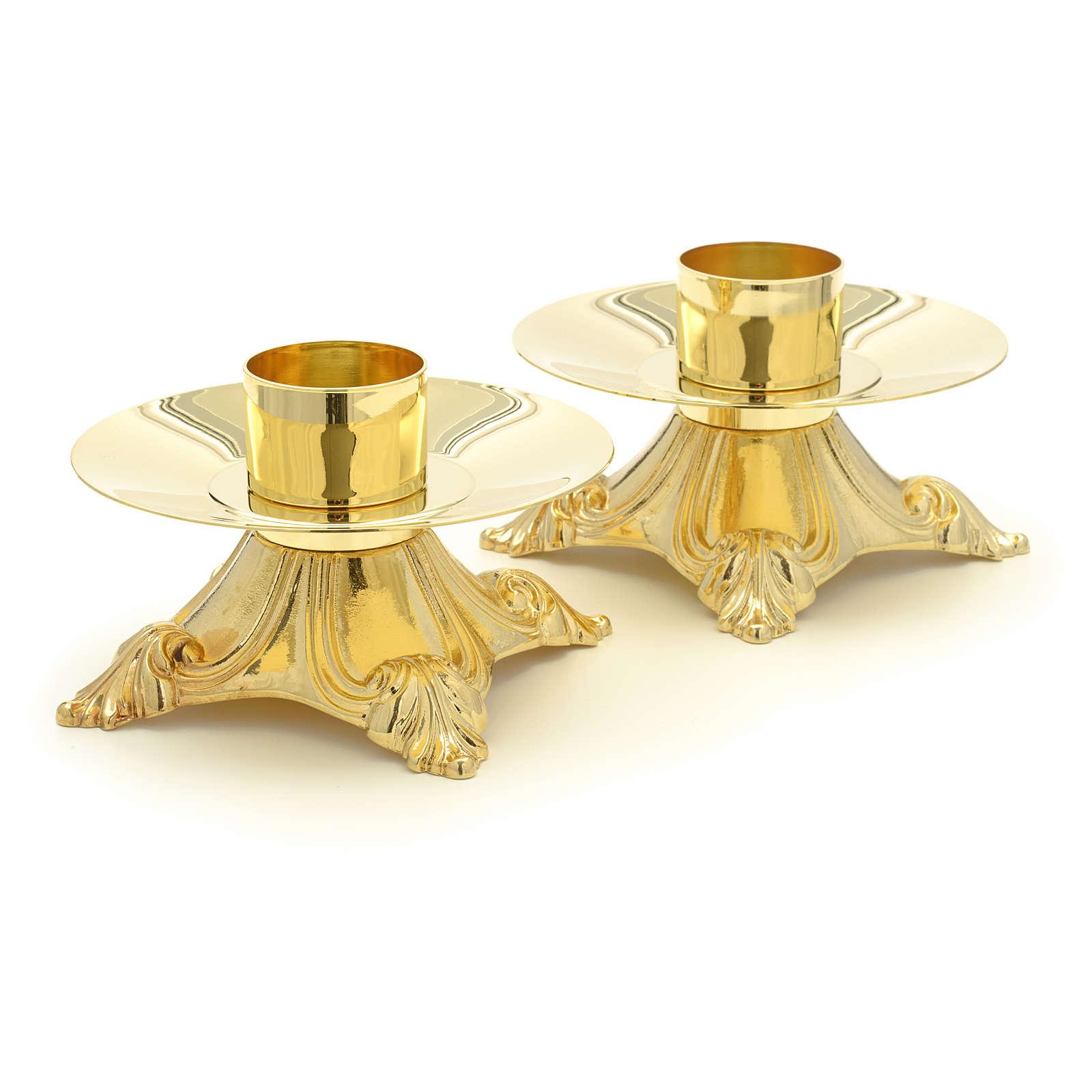 Cruz y candelabros de latón para altar 4