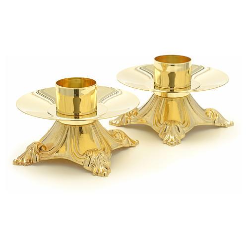 Croce e candelieri ottone da altare 3