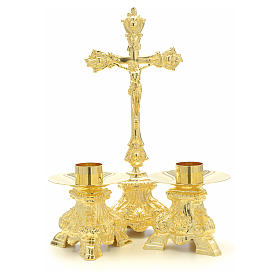 Altar set with cross and candle holders s4