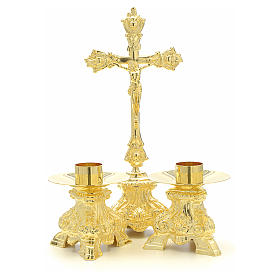 Altar set with cross and candle holders s1