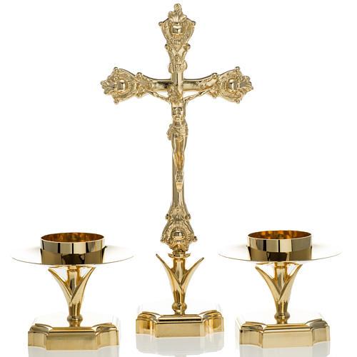Croix d'autel et chandeliers, set 3 pcs 1