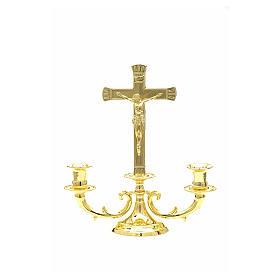 Cruces de altar con candeleros: Candelabro con cruz para altar