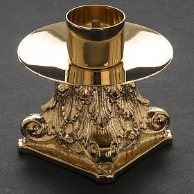 Cruz de mesa y pareja de candelabros de latón 53x30cm s7
