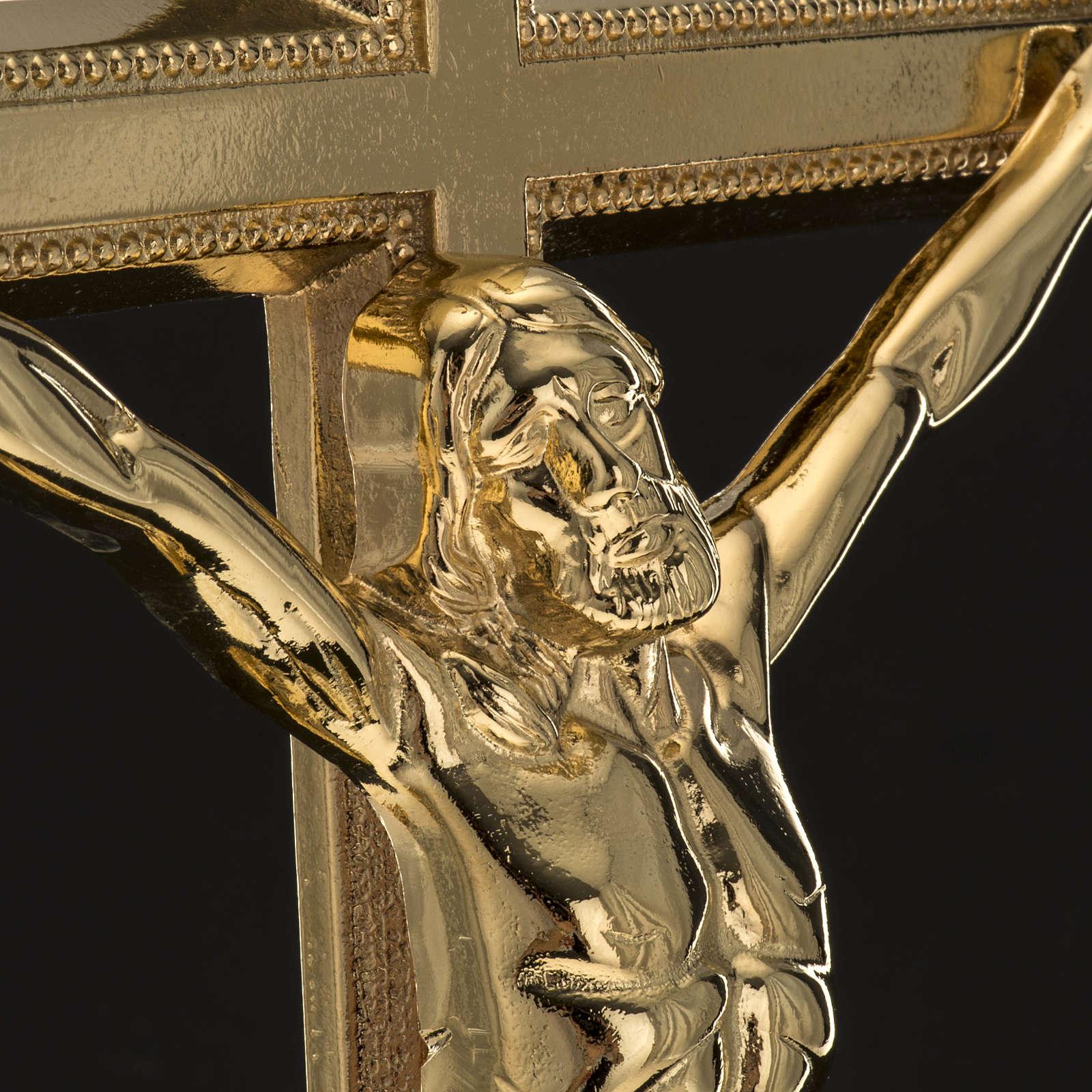Croce da mensa e coppia candelieri ottone 53x30 cm 4
