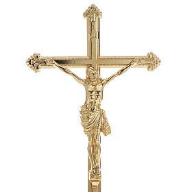 Croce da mensa e coppia candelieri ottone 53x30 cm s2