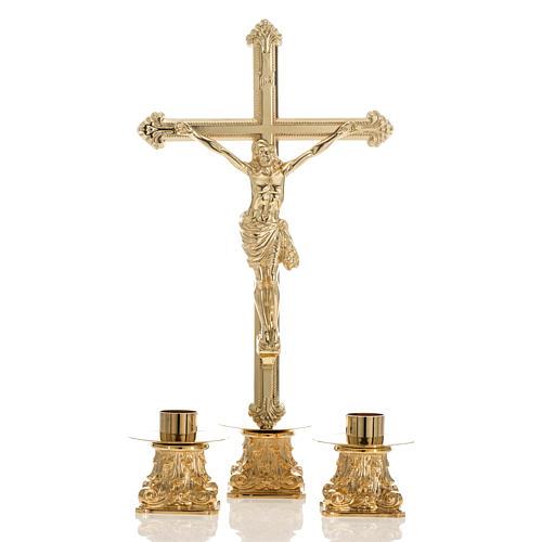 Croce da mensa e coppia candelieri ottone 53x30 cm 1