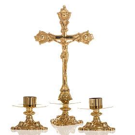 Crucifix d'autel et chandeliers laiton 38x19 cm s1