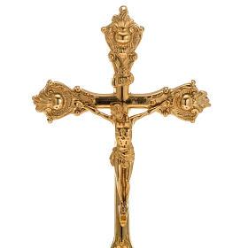 Cruz de mesa e castiçais latão 38x19 cm s2