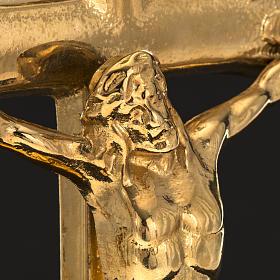 Cruz de mesa e castiçais latão 38x19 cm s4