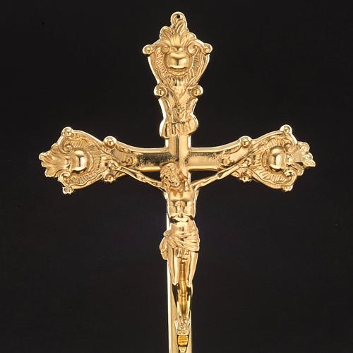 Cruz de mesa e castiçais latão 38x19 cm 5