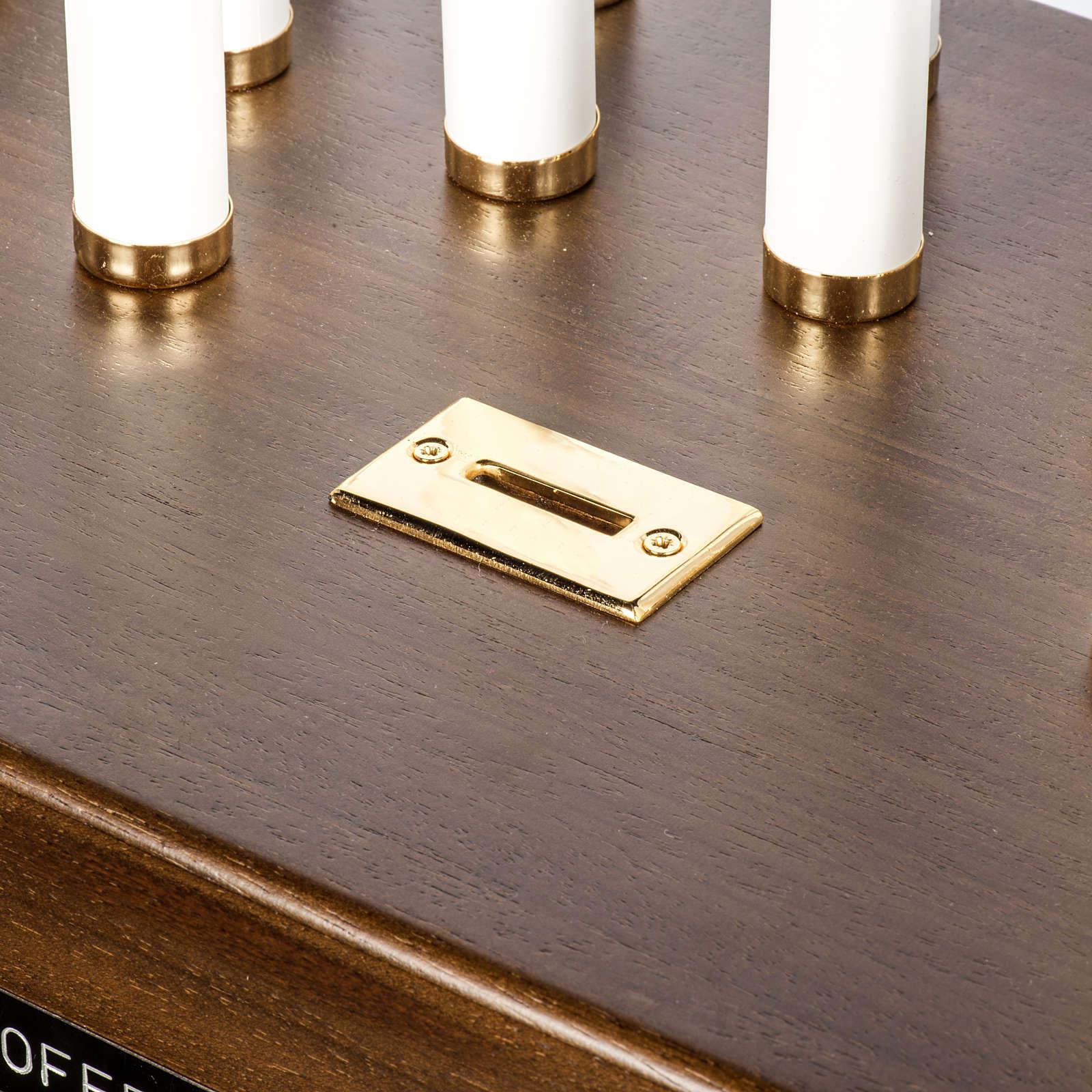 Candeliere votivo elettrico blindato legno tinto noce 4