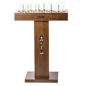 Candeliere votivo elettrico blindato legno tinto noce s1