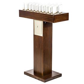 Candeliere votivo elettrico blindato legno tinto noce s5