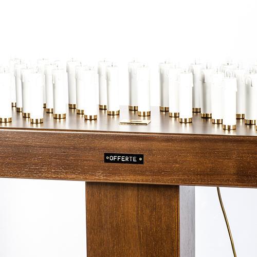 Candeliere votivo elettrico blindato legno tinto noce 2