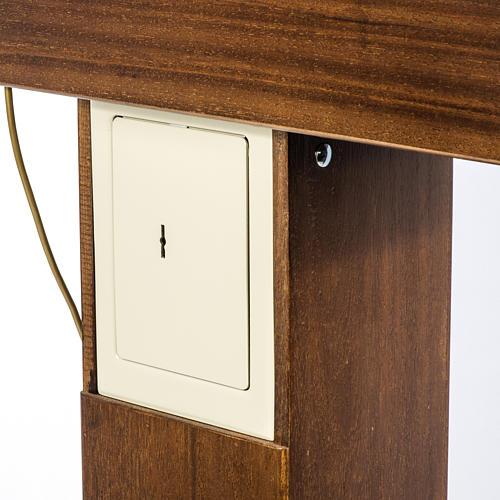 Candeliere votivo elettrico blindato legno tinto noce 6