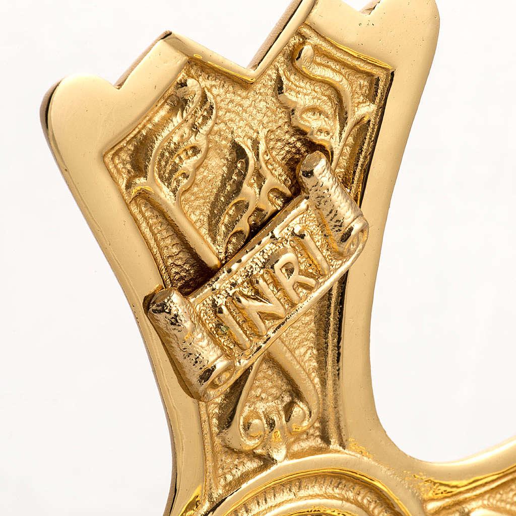 Cruz y candelabros de altar en bronce fundido dorado 4