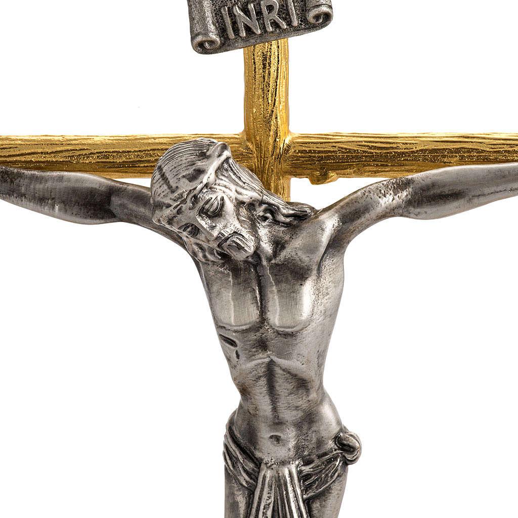 Cruz y candelabros de 3 llamas con ángeles bronce fundido 4