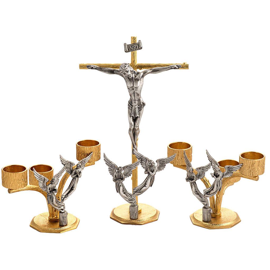 Croce e candelieri 3 fiamme con angeli in bronzo fuso 4