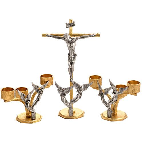 Croce e candelieri 3 fiamme con angeli in bronzo fuso 1