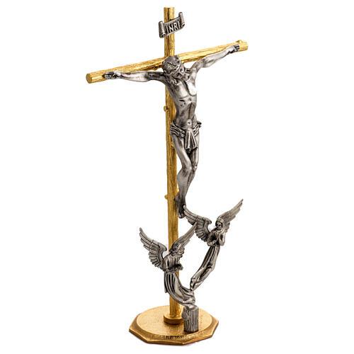 Croce e candelieri 3 fiamme con angeli in bronzo fuso 3