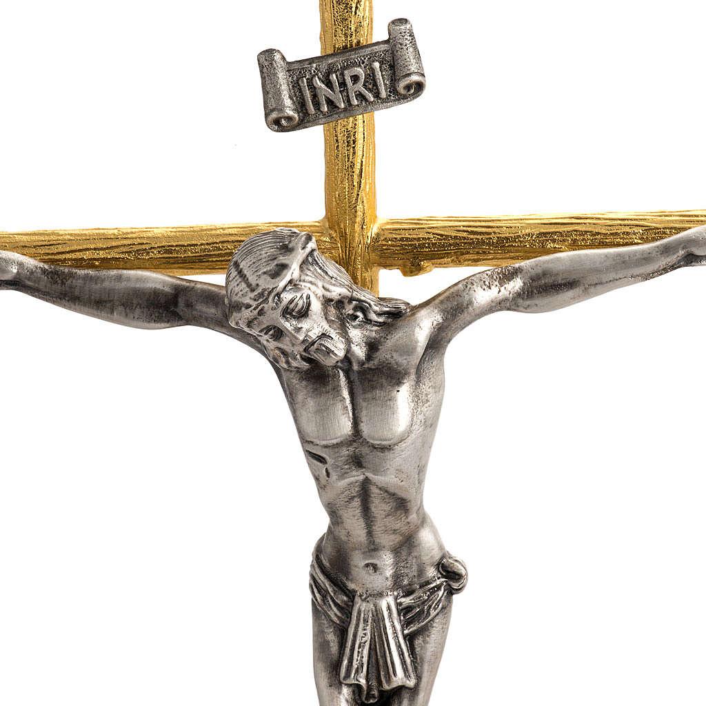 Cruz y candelabros 2 llamas con ángeles bronce bicolor 4