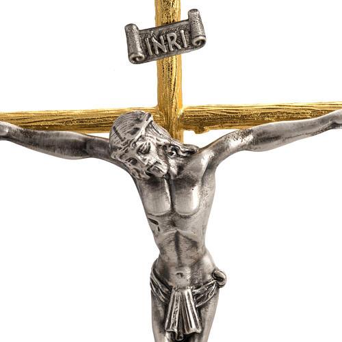 Cruz y candelabros 2 llamas con ángeles bronce bicolor 2
