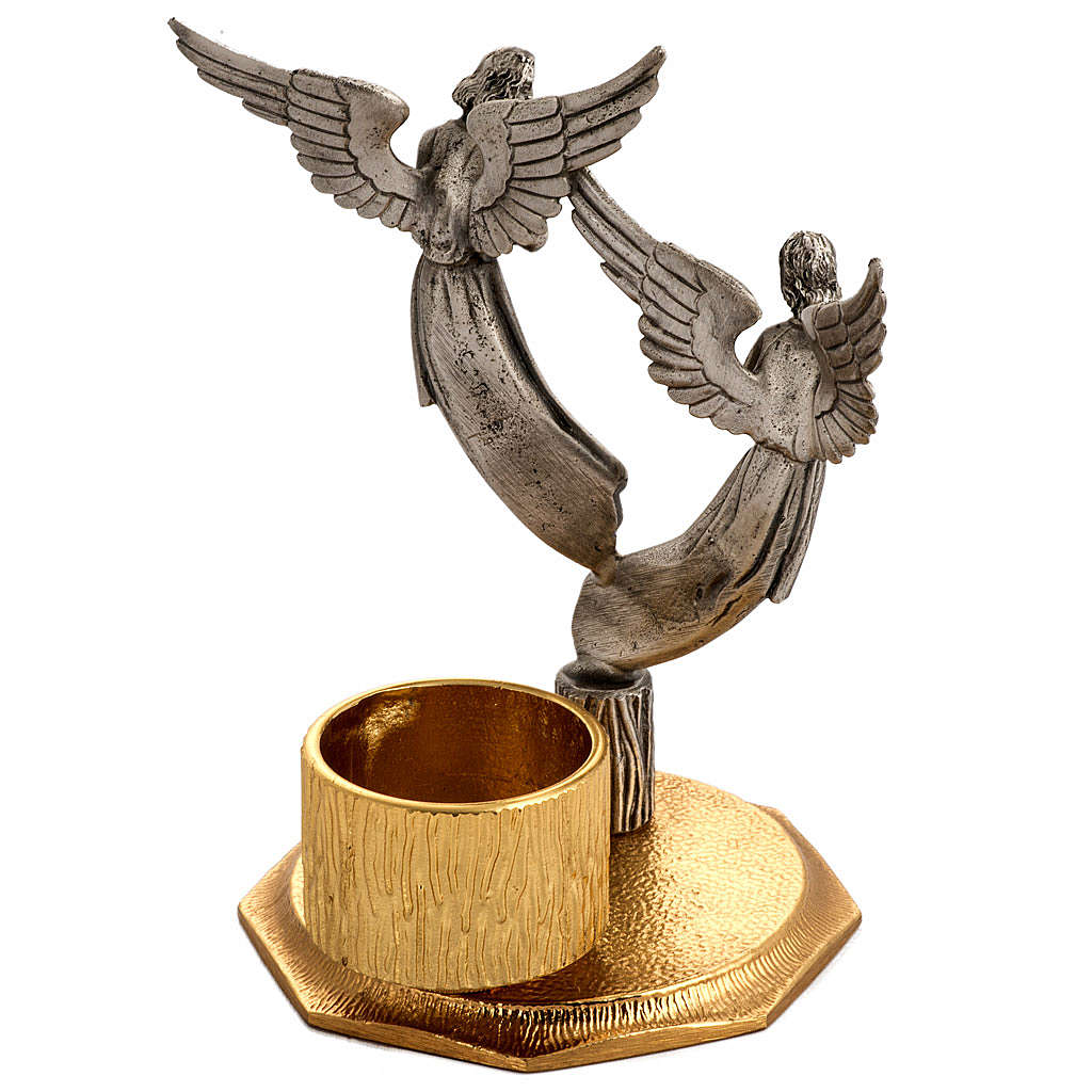 Altar cross and candlesticks with angels in bronze 4