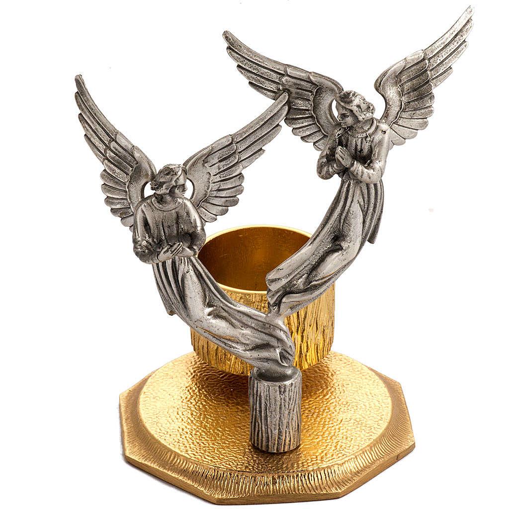 Cruz de mesa y candelabros con ángeles, en bronce fundido 4