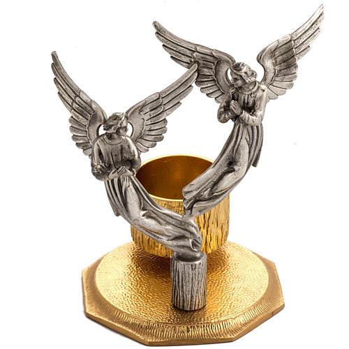 Cruz de mesa y candelabros con ángeles, en bronce fundido 2