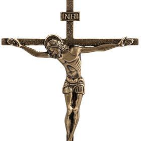 Cruz de mesa y candelabros bronce fundido oxidado s2