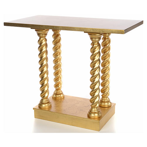 Altar in beech wood with columns 120 x 80 cm 7