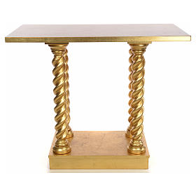 Altar in beech wood with columns 120 x 80 cm s1