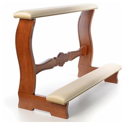 Reclinatorio de esposos madera nogal terciopelo marfil 1
