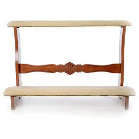 Inginocchiatoio sposi legno noce velluto avorio s2