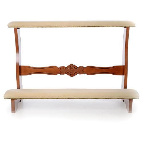 Inginocchiatoio sposi legno noce velluto avorio 2