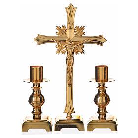 Zestaw ołtarzowy krzyż i dwa świeczniki pozłacany mosiądz s1