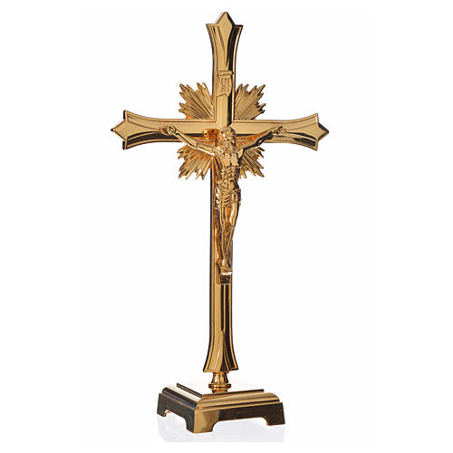 Zestaw ołtarzowy krzyż i dwa świeczniki pozłacany mosiądz 2