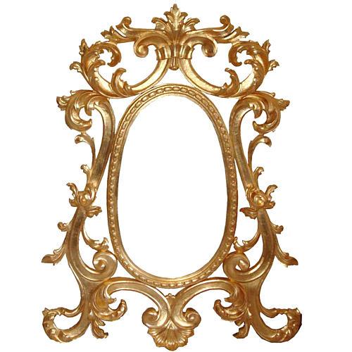 Espejo entallado  a mano acabado con pan de oro de estilo barroco 130x80 cm 1