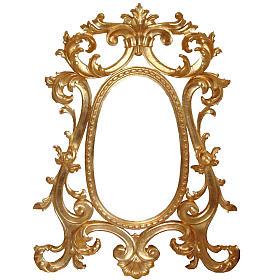 Lustro drewno ręcznie nacięte listek złota styl barokowy 130x80 s1