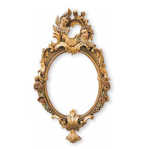 Specchiera intagliata a mano foglia oro con angeli 80x47 1