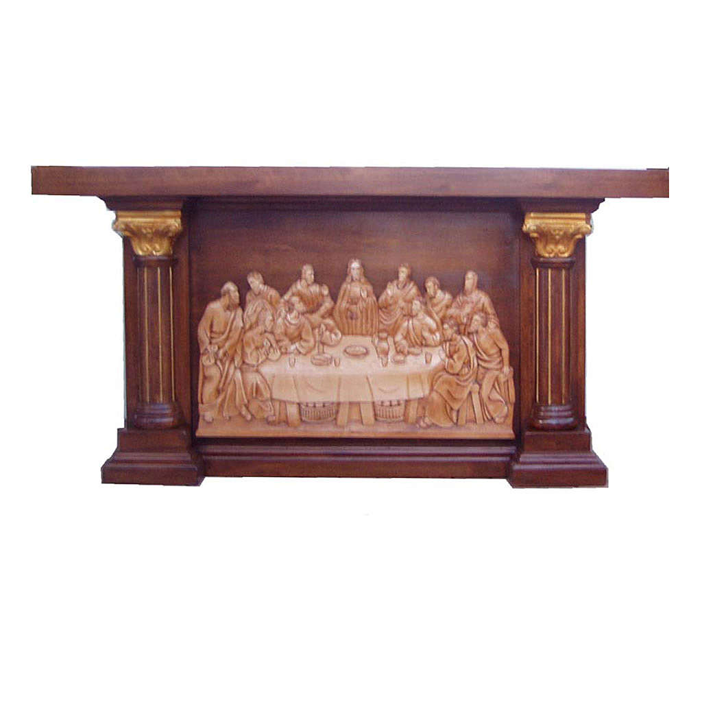 Altar in hand carved wood, Last Supper image 4