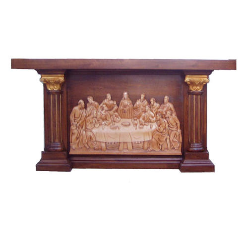 Altar in hand carved wood, Last Supper image 1