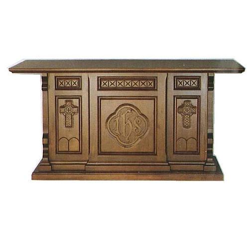 Altar de madera maciza de estilo gótico 200x89x98 cm con escudo IHS 1