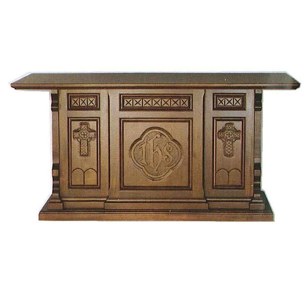 Altare legno massello stile gotico 200x89x98 stemma IHS 4
