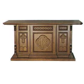 Altare legno massello stile gotico 200x89x98 stemma IHS s1